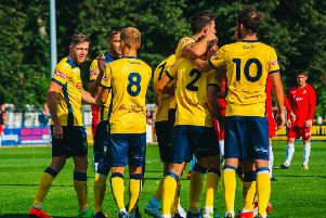 Action from Tadcaster Albion's 4-1 victory against Shildon. Picture: Matthew Appleby.
