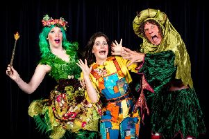 Tim Stedman, Harriette Hare and George Telfer are appearing in Harrogate Theatre's panto Jack and the Beanstalk.