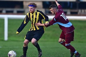 Lewis Collinson (right) curled home a terrific free-kick as Norristhorpe earned a 4-2 victory over Huddersfield Amateur in Yorkshire Amateur League Division Three. Picture: Paul Butterfield