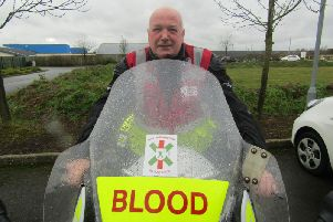 Jim McRury, who had to have a heart transplant and now volunteers with Nottinghamshire Blood Bikes.