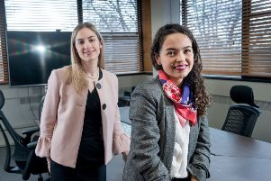 12 February 2019.'Flora Mewies, left, of Ward Hadaway, and Laura Garcia at Nephos Solutions, Headingley.
