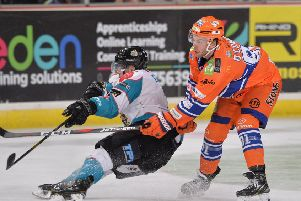 SAME AGAIN PLEASE: Ben O'Connor, in action in Sheffield against Belfast Giants when the Steelers won 4-2 last December. 'PPicture: Dean Woolley.