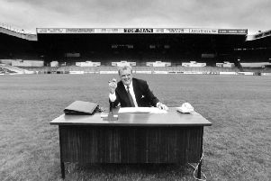 Leeds United's former managing director Bill Fotherby, photographed on the pitch at Elland Road in July 1989.