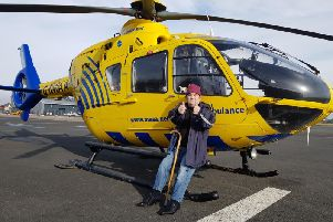 Kevin Tierney with one of the air ambulances