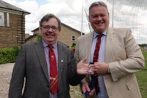 Ashvillian Society's new president, Ian Brown (left), with outgoing president, Simon Donkin