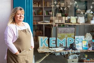 Owner Liz Kemp outside the new Kemps on the Coast store in Whitby.