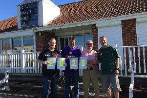 Les Brown, Garry Summerson, Frank Shipton and Tim Richardson declare the �2,020 total for St Catherine's.