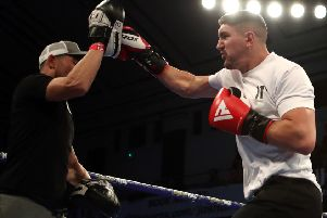 Matty Askin preparing for his title defence in a public workout at York Hall in east London this week