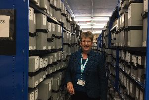 Jacquie Crosby pictured  at the Lancashire Archives