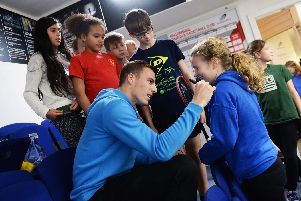 One Health Primary Schools Squash Festival at Hallamshire Tennis and Squash Club,Ecclesall Road with Sheffield's 3 time World Squash Champion Nick Matthew.Pictured are kids queuing up for Nick's autograph... Pic Steve Ellis