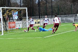 Dillon Morse pounces to score for South Shields. All pictures by Kev Wilson.