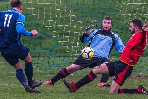 James Armstrong shows composure in the box to fire in Whitby Fishermens Societys opener in their 2-1 win over Loftus Athletic in the Premier Division of the North Riding Football League. PICTURES BY BRIAN MURFIELD