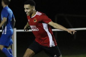 Luke Stewarts 83rd-minute goal looked to have handed Knaresborough Town all three points when they entertained Staveley in midweek. Picture: Craig Dinsdale
