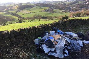 Flytipping in Mucky Lane, Stainland