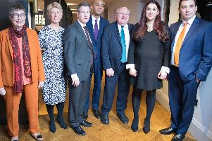Angela Smith poses with the six other MPs who announced today they are quitting Labour