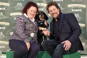 Picture shows Scruffts Final 2019 Winner Percy with his Owner Amanda Bell and Michael Ball, (Saturday 09.03.19) the third day of Crufts 2019 at the NEC, Birmingham. Pic: BeatMedia
