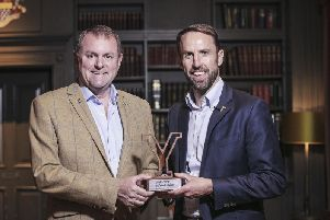 Sir Gary Verity pictured presenting an Honorary Yorkshireman award to England manager Gareth Southgate at the White Rose Awards in Harrogate last year.
