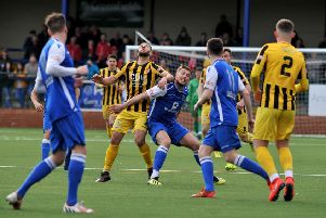 Action from Buxton FC v Scarborough Athletic.