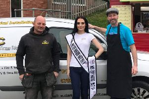 Katy Ventress with sponsors Mike Clarkson (left) and Neil Trillo.