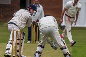A Dan Outhart delivery is edged away by a Staithes batsman. Picture by Brian Murfield.