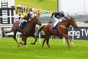 Michaels Mount goes clear on the run in under jockey Silvestre De Sousa to win the two-mile Tony Bethell Memorial Handicap. Picture: Alan Wright