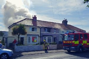 Fire crews from Bispham and Blackpool are at the scene of a fire at a home in Beach Road, Fleetwood this morning (July 4)