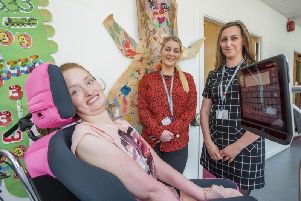 Mentor Jessica Forster (front) from St Annes, with Natalie Forsythe (left) and Rebecca Hodgson (right) from Beaumont College