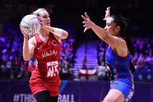 LIVERPOOL, ENGLAND - JULY 14: Natalie Haythornthwaite of England in action during preliminaries stage one match between England and Samoa at M&S Bank Arena on July 14, 2019 in Liverpool, England. (Photo by Nathan Stirk/Getty Images)