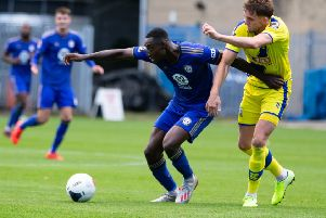 Actions from FC Halifax Town v Solihull Moors, at The Shay, Halifax. Pictured is Tobi Sho-Silva