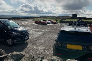 The supercars against the stunning backdrop