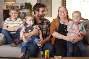 Alix and Gethin Edwards, with their three young children, who feature in the Dunelm adverts on ITV. (PHOTO BY: Nick Dolding)