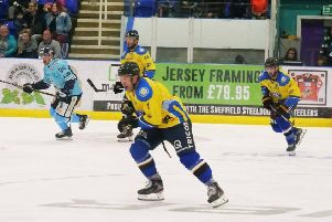 Steve Duncombe, Luke Boothroyd and Andres Kopstals, right, look to get a Chiefs attack going at Ice Sheffield on Sunday. Picture: Chris Stratford.
