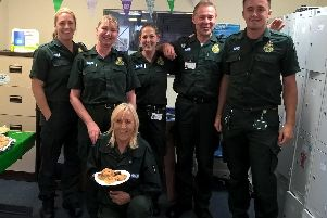 Ambulance service staff at the coffee morning