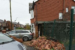 There was a large pile of bricks next to the house on Monday morning