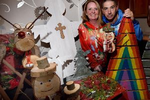 Janice and Justin with some of their decorations