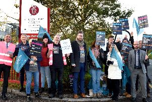 The picket line at St John Rigby College