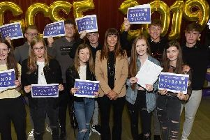 Pupils celebrating their GCSE results at Golborne High School