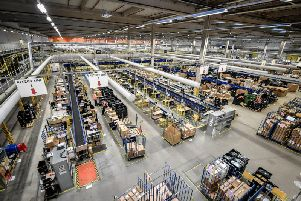 One of the packing areas at Amazon's fulfillment centre in Swansea