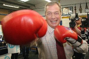 Nigel Farage at Bolsover Boxing Club. Pictures by Rebecca Havercroft.