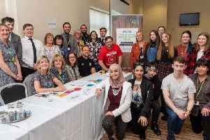 Coun Jenny Bullen and Coun Susan Gambles with staff from Wigan Council, GP Dr Jayne Davies and representatives from Wigan Borough CCG and North West Boroughs NHS Trust, and young people from Wigan and Leigh Youth Cabinet at the Mental Health and Me Event