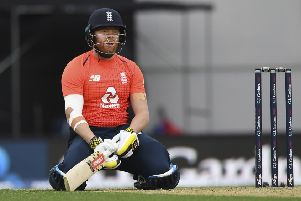 England's Jonny Bairstow reacts while batting against New Zealand during their T20 cricket match at Eden Park, Auckland. (Picture: Andrew Cornaga/Photosport via AP)