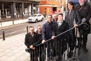 Left to right: Paul Barton (director of environment, Wigan Council), Graham Ellis (St John Ambulance), Sacha Lord, Phil James (GMP), Sonia Halliwell, Julie Middlehurst (service manager, regulatory services, Wigan Council), Clive Rigby (GMP)