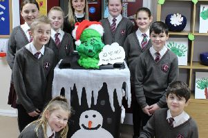 Golborne St Thomas pupils with their monster for The Bricks Festive Food Monster Competition