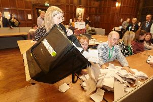 The first ballot boxes arrive at the Hull Guildhall for the start of the general election count.Picture by Les Gibbon