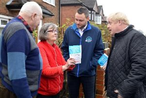 Ben Bradley and Boris Johnson on the campaign trail in Mansfield.