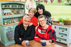 Paul Hollywood and Prue Leith, Sandi Toksvig and Noel Fielding in the Bake Off tent (Pic: Channel 4)
