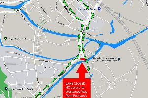 The junction where the diversion is located and a map showing where motorists have to go to get onto Westwood Way