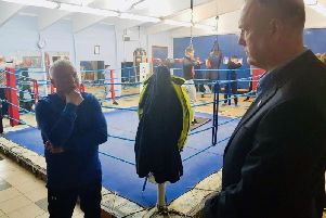 Michael Graves, senior coach at Chorley Amateur Boxing Club, with Clive Grunshaw Lancashire PCC