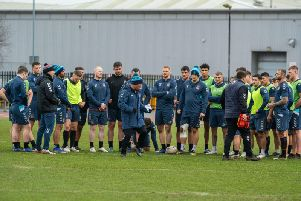 Wigan players in training