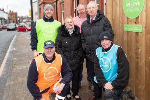 Coun David Molyneux, Leader of Wigan Council  and Coun Yvonne Klieve with staff from the Streetscene service